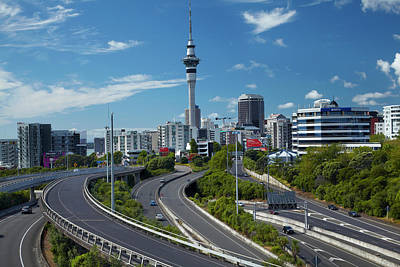 Motorway Photograph - Motorways And Skytower, Auckland, North by David Wall