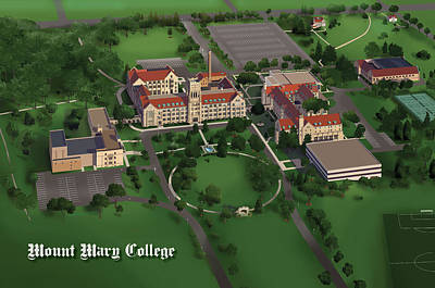 Campus Maps Drawing - Mount Mary College  by Rhett and Sherry  Erb