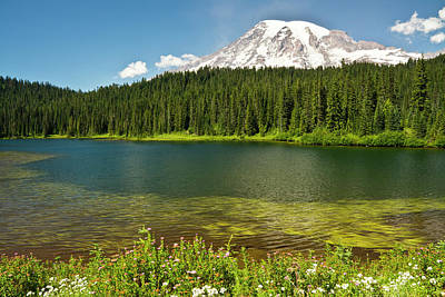 Snow-covered Landscape Photograph - Mount Rainier, Reflection Lakes, Mount by Michel Hersen