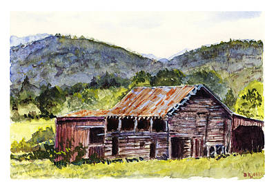 Old Barn Drawing - Farm - Rustic - Mountain Barn by Barry Jones