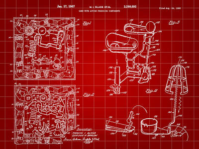 Ideals Digital Art - Mouse Trap Board Game Patent 1962 - Red by Stephen Younts