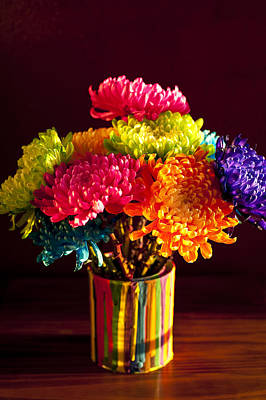 Personalized Name License Plates - Multicolored Chrysanthemums in paint can by Jim Corwin
