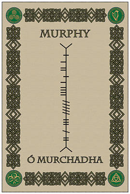Print featuring the digital art Murphy Written In Ogham by Ireland Calling