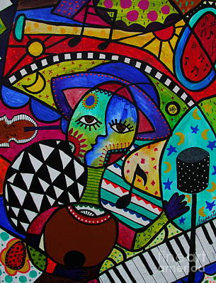 Picasso Style Painting - Musico by Pristine Cartera Turkus