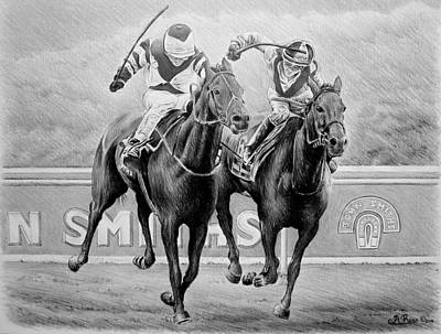 Thoroughbred Drawing - Nearing The Finish by Andrew Read