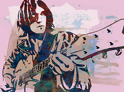 Abstract Pop Drawing - Neil Young Pop Artsketch Portrait Poster by Kim Wang