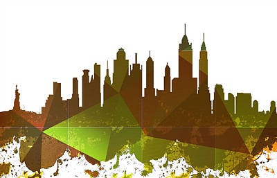 City Scenes Drawings - New York City Skyline by Celestial Images