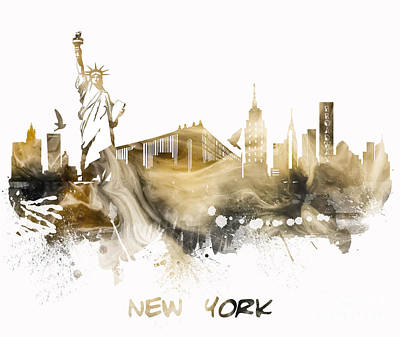 Watercolor Digital Art - New York City Skyline by Justyna JBJart