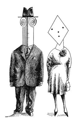 Psychological Drawing - New Yorker May 5th, 1962 by Saul Steinberg