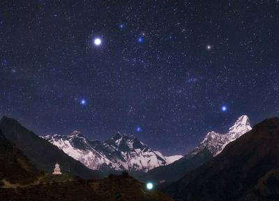Everest Wall Art - Photograph - Night Sky Over The Himalayas by Babak Tafreshi/science Photo Library