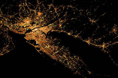 Bight Colors Photograph - Night Time Satellite Image Of New York by Panoramic Images