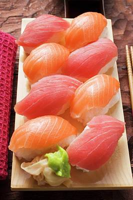 Fish Fillet Photograph - Nigiri Sushi With Tuna And Salmon On Sushi Board by Foodcollection