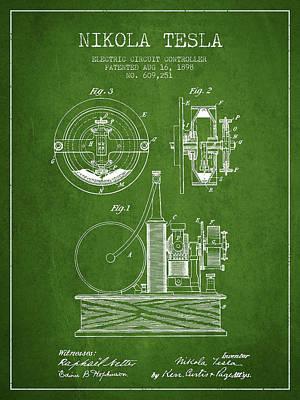 Nikola Tesla Electric Circuit Controller Patent Drawing From 189 Art Print