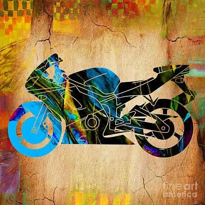 Motorcycle Mixed Media - Ninja Motorcycle Painting by Marvin Blaine