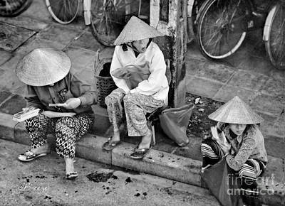 Stiched Photograph - 3 Non La In Hoi An-vietman-bw by Jennie Breeze