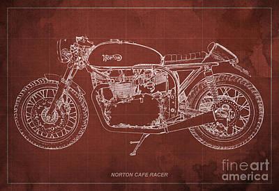 Norton Drawing - Norton Cafe Racer Blueprint by Pablo Franchi