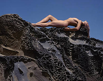Urban Nature Study Photograph - Nude On Rock by Scott Shaver