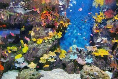 Painting - Ocean Aquarium In Shanghai by George Atsametakis