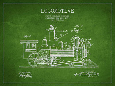 Transportation Digital Art - ocomotive Patent drawing from 1894 by Aged Pixel
