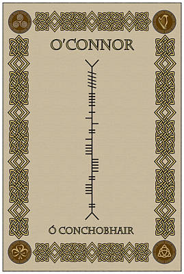 Print featuring the digital art O'connor Written In Ogham by Ireland Calling