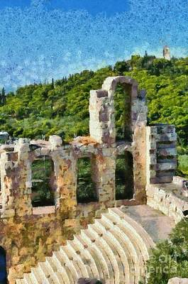 Ancient Painting - Odeon Of Herodes Atticus And Hill Of Philopappos by George Atsametakis