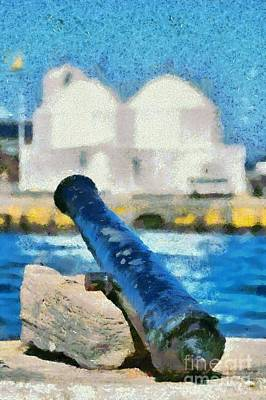 Summer Painting - Old Cannon In Aegina Port by George Atsametakis