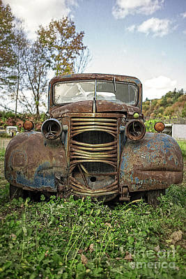 Old Junker Car Art Print by Edward Fielding