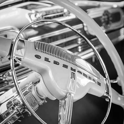 Photograph - Oldsmobile Steering Wheel Emblem by Jill Reger