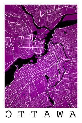 City Digital Art - Ottawa Street Map - Ottawa Canada Road Map Art On Colored Backgr by Jurq Studio