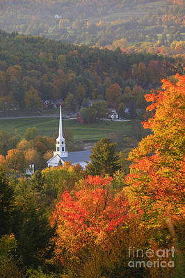 Photograph - Overlooking Stowe Community Church In The Autumn. by Don Landwehrle
