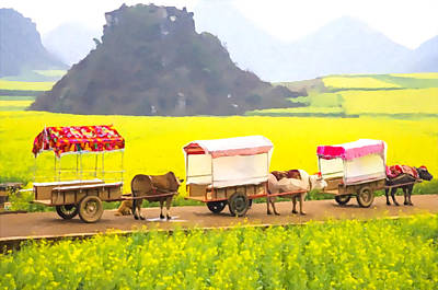 Bullock-cart Painting - 3 Oxcart In The Rapeseed Field  by Lanjee Chee