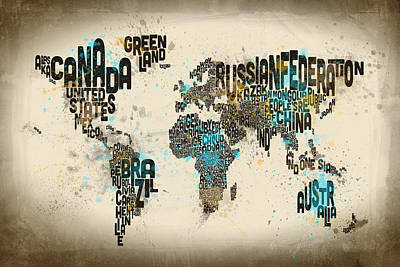 Watercolor Map Digital Art - Paint Splashes Text Map Of The World by Michael Tompsett