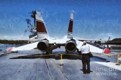 Painting Of Intrepid Museum Art Print by George Atsametakis