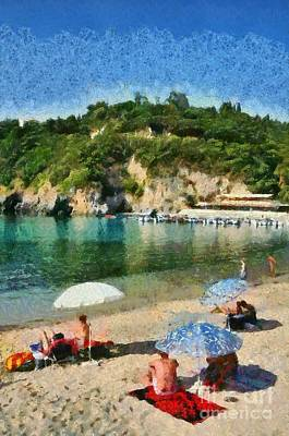 Sunshade Painting - Paleokastritsa Beach by George Atsametakis