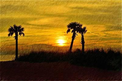 Photograph - 3 Palms Sunset by Richard Zentner