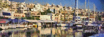 Yachts Photograph - Panoramic Painting Of Mikrolimano by George Atsametakis