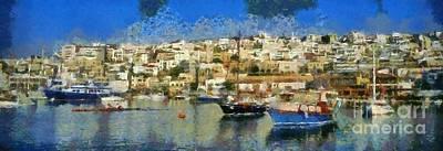 Yacht Painting - Panoramic Painting Of Mikrolimano Port by George Atsametakis
