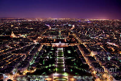 Central Photograph - Paris Panorama France At Night by Michal Bednarek