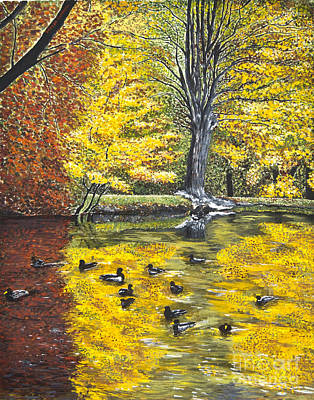 Wood Duck Painting - Paysage De Munster  Alsace by Mircea Caraman
