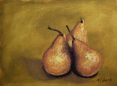 Pastel - 3 Pear Study by Marna Edwards Flavell