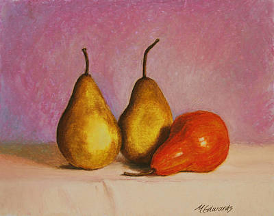 Painting - 3 Pears On A Table by Marna Edwards Flavell