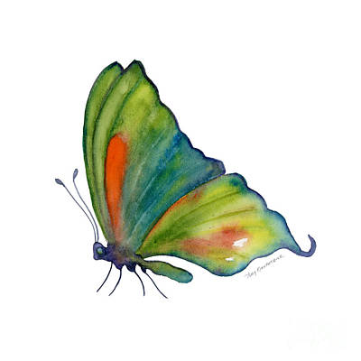 3 Perched Orange Spot Butterfly Original by Amy Kirkpatrick