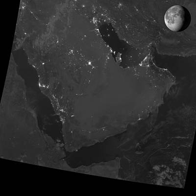 Persian Gulf At Night, Satellite Image Art Print by Science Photo Library