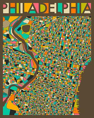 Philadelphia Map Art Print by Jazzberry Blue