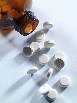Pill Photograph - Pill Bottle With Pills by Tek Image