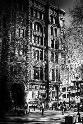 Monotone Photograph - Pioneer Square In Seattle by David Patterson