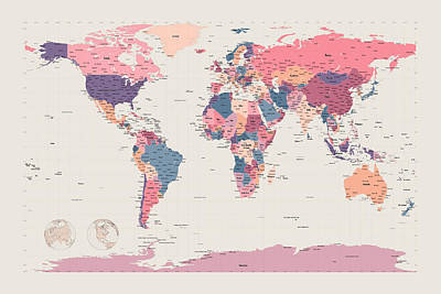 Geography Digital Art - Political Map Of The World by Michael Tompsett