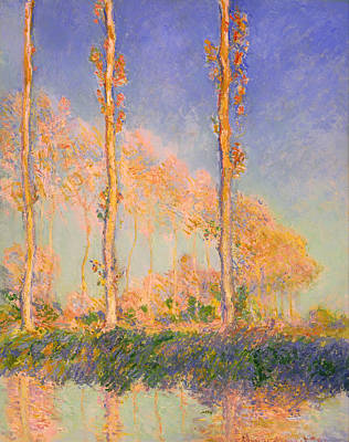 Beautiful Creek Painting - Poplars by Mountain Dreams