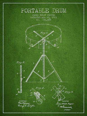 Drummer Drawing - Portable Drum Patent Drawing From 1903 - Green by Aged Pixel