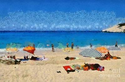 Umbrellas Painting - Porto Katsiki Beach In Lefkada Island by George Atsametakis